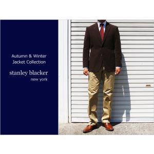 秋冬新品 スタンリーブラッカー stanley blacker 綿起毛コットンスウェード 桃肌ピーチスキン ストレッチ 濃茶ダークブラウン 2ボタンジャケット (A/AB体)|decte
