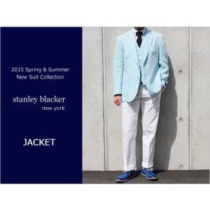 2015春夏モデルstanley blacker スタンリーブラッカー 麻-100% ブルーグリーン3ボタン段返り ジャケット (AB体)|decte