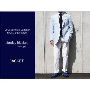 2015春夏モデルstanley blacker スタンリーブラッカー 麻-100% サックスブルー 3ボタン段返り ジャケット (AB体)|decte