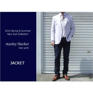 2015春夏モデルstanley blacker スタンリーブラッカー 麻-100% ピンク系パープル3ボタン段返り ジャケット (AB体)|decte
