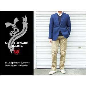 2015春夏新作モデル ミエコ ウエサコ 4WAYストレッチ × COOL MAX ネイビーブルー 青系 スリム 2ボタンジャケット (A/AB体)|decte
