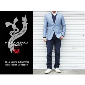2015春夏新作モデル ミエコ ウエサコ 綿麻 サックスブルー杢 スリム 2ボタンジャケット (A/AB体)|decte