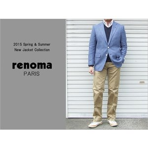 2015 春夏新作 renoma レノマ paris パリス ドンゴロス風 ペールトーンのブルー系 2ボタン ジャケット (A/AB体)|decte
