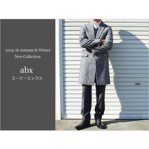 2015-16 秋冬モデル 新品 abx エービーエックス アルバタックス ホームスパン ネイビー系 大柄霜降り杢 3ボタン段返り チェスターコート (スリムフィット)|decte