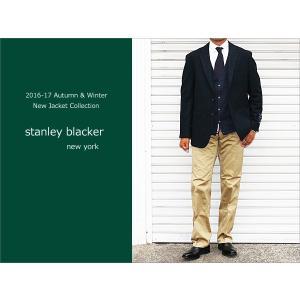 2016-17秋冬モデルstanley blacker スタンリーブラッカー 濃紺ネイビー無地系 マカロンウール 3ボタン段返り アンコン大身返し ジャケット (AB体) j2w|decte
