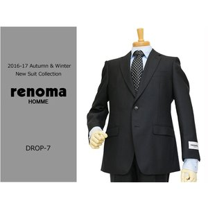 2016-17秋冬モデル renoma レノマ homme オム DROP7 クラシコ系スリム 黒ブラック織柄シャドーストライプ ナチュラルストレッチ 2ボタンスーツ (A/AB体) j3s|decte