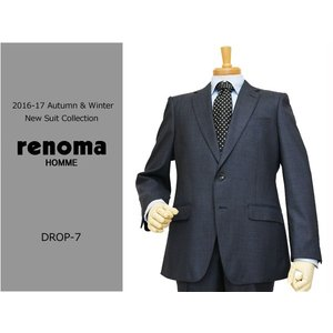 2016-17秋冬モデル renoma レノマ homme オム DROP7 クラシコ系スリム デニム風 濃紺ネイビー杢 無地系 ストレッチ 2ボタンスーツ (A/AB体) j3s|decte