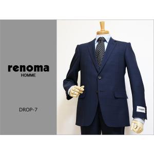 2017春夏新作モデル renoma レノマ homme オム DROP7 クラシコ系スリム 濃紺ネイビー杢 ブラック黒線ウインドペン ストレッチ 2Bスーツ(A/AB体)|decte