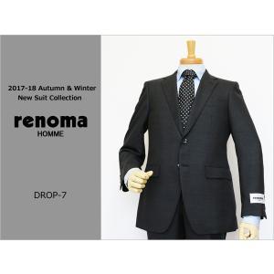 2017-18秋冬モデル renoma レノマ homme オム DROP6.5 クラシコ系スリム 黒ブラック小柄ピンドット ナチュラルストレッチ 2ボタンスーツ (A/AB体)|decte
