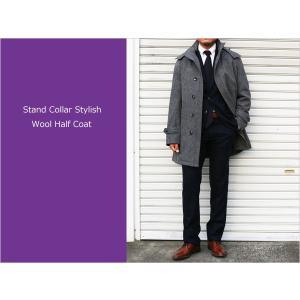 スタンドカラー(立ち襟) 防寒中綿入り コート ピュアウール100% やや淡系グレー杢 杉綾ヘリンボーン織 スタンドカラーコート (やや細) レギュラーフィット decte