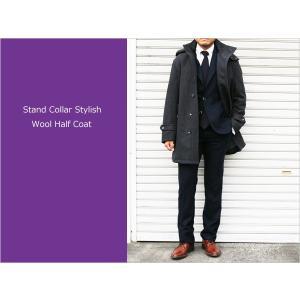 スタンドカラー(立ち襟) 防寒中綿入り コート ピュアウール×カシミア15%混 ミディアムグレー杢 スタンドカラーコート (やや細) レギュラーフィット decte