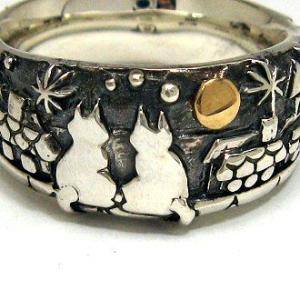猫 ねこ ネコ 指輪 リング ペア 刻印 動物 月 シルバー アクセサリー ハンドメイド 月の約束|dedo
