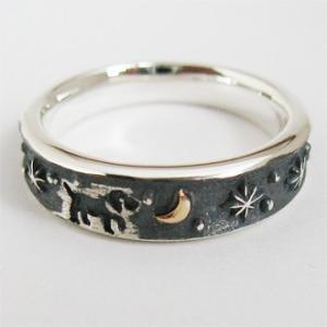 指輪 リング 犬 動物 月 イヌ ペア メンズ レディース 刻印 シルバー ジュエリー ハンドメイド 月の散歩|dedo