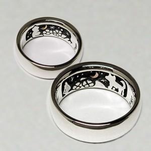 ペアリング 指輪 リング 犬 猫 イヌ ネコ 動物 月 シルバー 刻印 ジュエリー ハンドメイド 同じ月を見てた ネコとイヌ|dedo