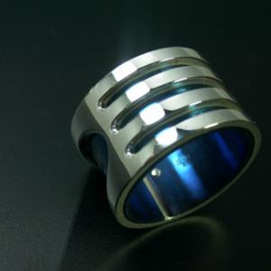 指輪 リング メンズ レディース シルバー チタン アクセサリー ハンドメイド アクセサリー 刻印 Stream 3Line dedo