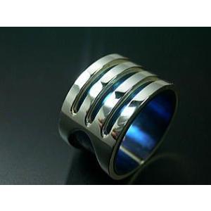 指輪 リング メンズ レディース シルバー チタン アクセサリー ハンドメイド アクセサリー 刻印 Stream 3Line dedo 02