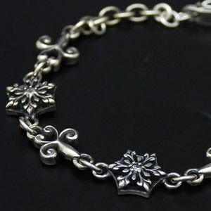 ブレスレット メンズ レディース 結晶 雪の結晶 シルバー ハンドメイド Lサイズ snow shadow|dedo