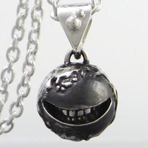 ネックレス ペンダント メンズ レディース スマイル 笑顔 地球 シルバー アクセサリー ハンドメイド smile earth M_P|dedo