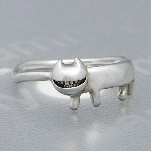 猫 ねこ ネコ 指輪 リング レディース 刻印 シルバー スマイル 笑顔 アクセサリー ハンドメイド ニヤニヤわらうステネコくん|dedo