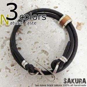ブレスレット 革 レザー 木 ウッド メンズ レディース ハンドメイド two kawa brace sakura|dedo