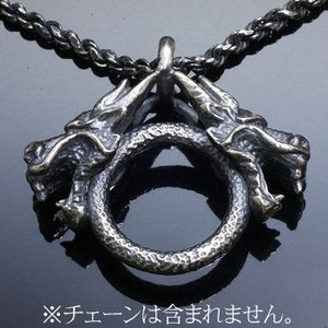 ペンダントヘッド 龍 ドラゴン 竜 和風 メンズ シルバー ハンドメイド 双龍頭|dedo
