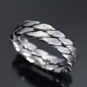 指輪 リング シンプル シルバー ハンドメイド アクセサリー メンズ ツイストダブル1カラー 銀|dedo
