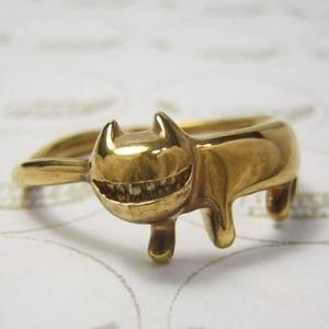 猫 ねこ ネコ 指輪 リング レディース 刻印 シルバー ゴールド アクセサリー ハンドメイド ネコをかぶってニヤニヤわらうステネコくん|dedo