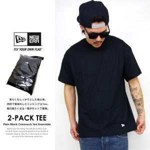 ニューエラ Tシャツ メンズ トップス インナー 半袖 無地 2枚組 NEW ERA パックTシャツ 2-Pack Tee 黒 ブラック deep