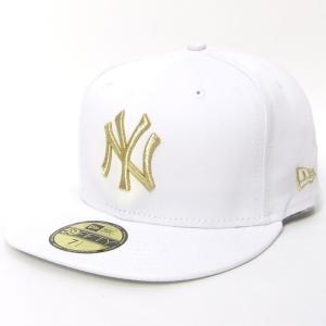 ニューエラ NEW ERA ベースボールキャップ 59FIFTY ニューヨーク・ヤンキース 白 ホワイト×ゴールド