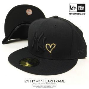 ニューエラ コラボ 限定 DEEP別注 ベースボールキャップ メンズ 帽子 NEW ERA 59FIFTY ニューヨーク・ヤンキース ハート ブラック×ゴールドハート deep