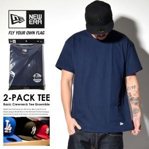 ニューエラ Tシャツ メンズ トップス インナー 半袖 無地 2枚組 NEW ERA パックTシャツ 2-Pack Tee 紺 ネイビー deep