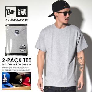 ニューエラ Tシャツ メンズ トップス インナー 半袖 無地 2枚組 NEW ERA パックTシャツ 2-Pack Tee 灰 グレー deep