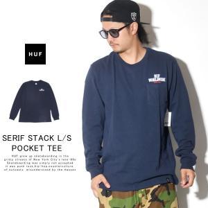 HUF ハフ ロンT 長袖Tシャツ メンズ SERIF STACK L/S POCKET TEE TS00872 秋冬 新作|deep