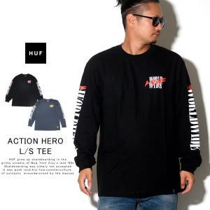 HUF ハフ ロンT 長袖Tシャツ メンズ プリント 袖 WORLD WIDE ACTION HERO L/S TEE TS00809 秋冬 新作|deep