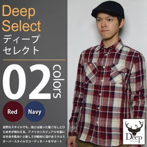 Deep select / ディープセレクト - リネンチェック ワーク 長袖シャツ|deepstandard