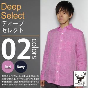 Deep select / ディープセレクト - リネン シャンブレー ワイドカラー 長袖シャツ|deepstandard