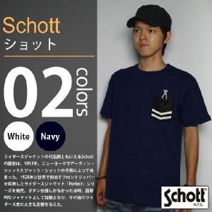 SCHOTT / ショット - レザー ポケット半袖Tシャツ