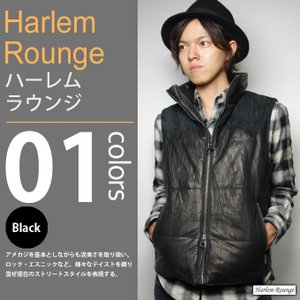 Harlem Rounge / ハーレムラウンジ - 中綿 レザーベスト|deepstandard