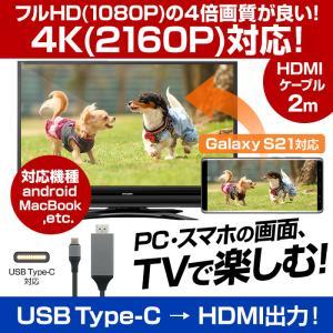 HDMI ケーブル 2m 変換 アンドロイド スマホ テレビ画面 映す USB タイプc Type-C ポート Mac Windows パソコン Android 4K