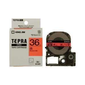 KING JIM キングジム テプラPRO テープカートリッジ カラーラベル(パステル) 赤テープ 黒文字 幅36mm×長さ8m SC36R|dejikura