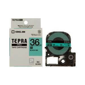 KING JIM キングジム テプラPRO テープカートリッジ カラーラベル(パステル) 緑テープ 黒文字 幅36mm×長さ8m SC36G|dejikura