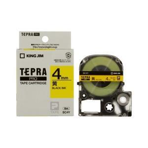 KING JIM キングジム テプラPRO テープカートリッジ カラーラベル(パステル) 黄テープ 黒文字 幅4mm×長さ8m SC4Y|dejikura