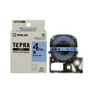 KING JIM キングジム テプラPRO テープカートリッジ カラーラベル(パステル) 青テープ 黒文字 幅4mm×長さ8m SC4B|dejikura