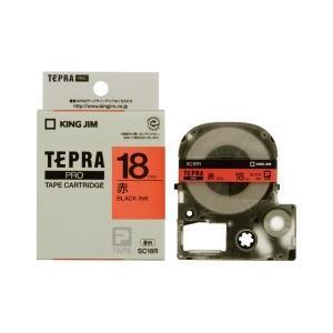 KING JIM キングジム テプラPRO テープカートリッジ カラーラベル(パステル) 赤テープ 黒文字 幅18mm×長さ8m SC18R|dejikura