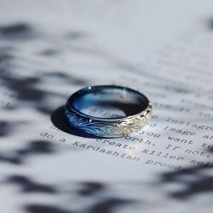 『laki+』ラキタス ハワイアンリング ブルーグラデーション 指輪 メンズ レディース ハワイアン シンプル ステンレス ペアリングに|delacruz