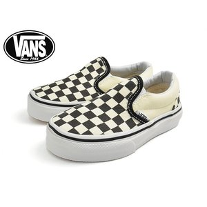 VANS KIDS バンズ キッズ VN-0ZBUEO1 KIDS CLASSIC SLIP-ON (Checkerboard) Black/White バンズ キッズ クラシックスリッポン 子供用スニーカー|delicious-y