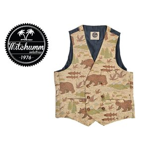 ワケあり-593 MITCHUMM(ミッチュム)FW'15 Waistcoat 【waist-028】 Bears&Fishes ※背中に引っかき傷あり delicious-y