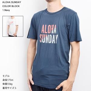 ワケあり-638 ALOHA SUNDAY AS9070 COLOR BLOCK サイズXL NAVY Tシャツ 首元縫製不良 delicious-y