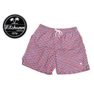 ワケあり-502 MITCHUMM(ミッチュム) Vintage-Red & White Big Dots on Blue swim shorts スイムショーツ サイズ:50 ※左前プリントかすれ有り delicious-y