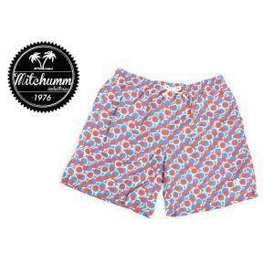 ワケあり-503 MITCHUMM(ミッチュム) Vintage-Red & White Big Dots on Blue swim shorts スイムショーツ サイズ:48 ※右前プリント白いかすれ有り delicious-y